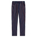 Colorful Stripe Print Elastic Waist Strait Leg Pants