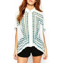 White 1/2 Sleeve Fan Leaves Print Loose Shirt