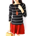 Boat Neck Long Sleeve Stripe Knitting Sweater