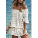 White Off-the-Shoulder 1/2 Sleeve Lace Mini Dress