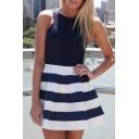 Back Zip Stripe Bottom Sleeveless Fit&Flare Dress