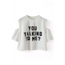 Round Neck Cold Shoulder Letters&76 Print T-Shirt