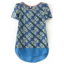 Blue Print Short Sleeve Dip Hem Chiffon Top