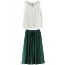 White Round Neck Tank with Green Drawstring Waist Skirt