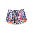 Zombies Print Cuffed Sports Shorts with Drawstring Waist