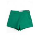 Dark Green Plain High Rise Pocket Shorts