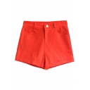 Orange Vintage High Waist Shorts