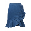 Blue High Waist Ruffled Hem Denim Skirt