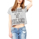 Gray Short Sleeve Rock N Roller Print Crop T-Shirt