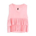 Plain V-Neck Sleeveless Ruffled Tiered Blouse