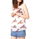 Cartoon Lobster Print White Tanks