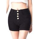 Plain Button Down High Waist Roll Up Denim Hot Pants
