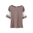 Cutout Lace Insert Short Sleeve T-Shirt