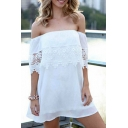 White Off-the-Shoulder Lace Insert A-line Dress