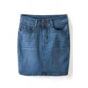 Blue High Waist Pockets Pencil Denim Skirt
