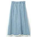Light Blue Elastic Waist Cut Off A-Line Denim Skirt