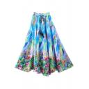 Colorful Floral Rainbow Print Elastic Full Skirt