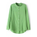 Green Long Sleeve Stand Collar Dip Hem Basic Shirt