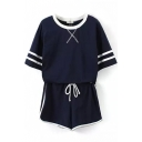 Striped T-Shirt with Shorts Sports Co-ords