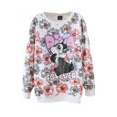 Round Neck Squirrel and Floral Print Long Sleeve Sweatshirt