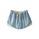 Light Blue Lace Trim Drawstring Waist Denim Shorts