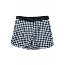 Summer Hot Plaid Zip Fitted Shorts
