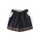 Dark Blue Ethnic Embroidered Elastic Waist Shorts