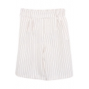 White Vertical Stripe High Waist Wide Leg Shorts