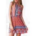 Red Ethnic Print Halter Open Back Beach Dress