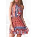 Red Ethnic Print Halter Open Back Beach Dress