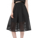 Black Sexy Cutout Plaid A-line Midi Skirt