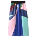 Elastic High Waist Abstract Pattern Print Midi A-line Skirt