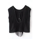 Black Back Tassel Cutout Crop Sleeveless T-Shirt