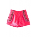Rose Pink Ethnic Embroidered Shorts