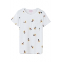 Little Cartoon Animal  Print Short Sleeve T-Shirt