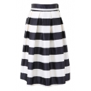 Mono Thick Stripe Pleated Flare Skirt