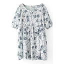 White Background Blue Flower Short Sleeve Peasant Dress