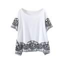 White Short Sleeve Paisley Print Loose T-Shirt