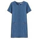 Blue Short Sleeve Round Neck Double Big Pockets Denim Shift Dress