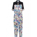 Lapel 1/2 Sleeve Colorful Flora Slim Jumpsuit