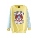 Color Block Round Neck Cartoon Print Sweatshirt with Polka Dotted Long Sleeve