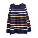Multi Horizontal Stripe Pattern Round Neck Raglan Sleeve Sweater