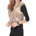 Plain Cropped Fur Vest with Hidden Hook