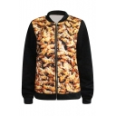 Gold Bees Print Crazy Style Baseball Jacket