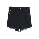 Plain High Elastic Waist Zipper Fly Shorts with Pockets