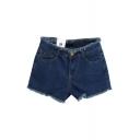 Blue Plain Denim Zipper Fly Raw Edge Shorts