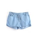 Dark Blue Thin Drawstring Loose Shorts