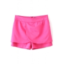 Red Plain Zip Fly Loose Skort