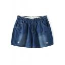 Dark Blue Strawberry Embroidered Denim Shorts