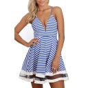Blue Striped Spaghetti Strap Mesh Insert Dress